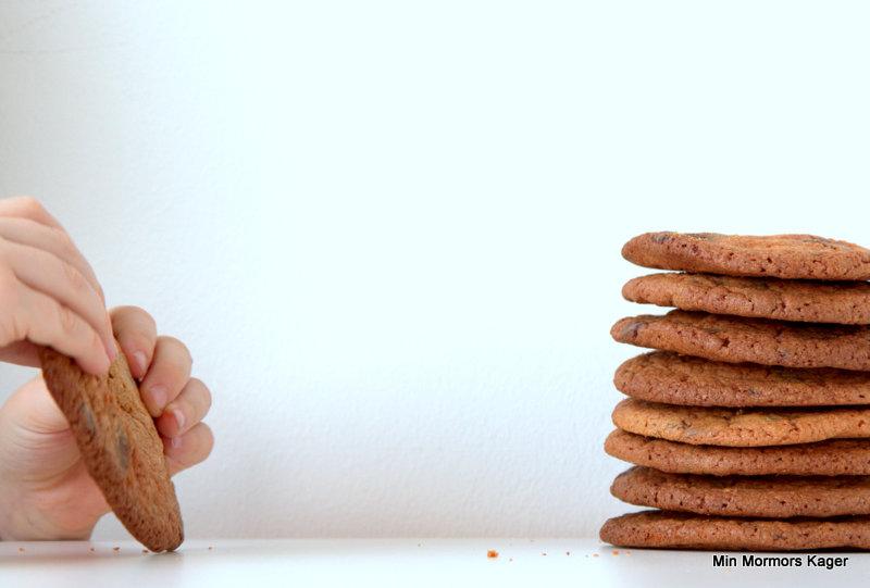 Glutenfri chocolate chip cookies med karamel