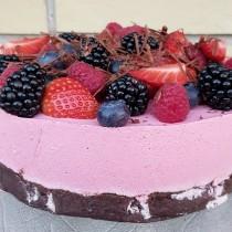 Glutenfri, melfri chokoladekage med ribsmousse - blød, frisk og chokoladelækker på en gang :-)